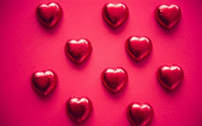 chocolate hearts, candy, red background, red candy hearts