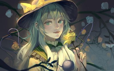 Koishi Komeiji, illustration, jaune, rose, manga, Touhou