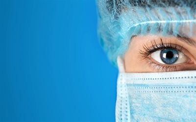doctor, medicine, beautiful female eyes, mask, doctors eyes, blue background, medicine concepts, health