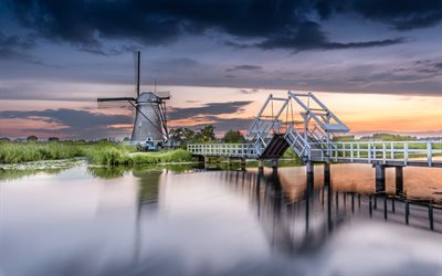 Kinderdijk, mill, sunset, evening, wooden bridge, Molenlanden, Netherlands