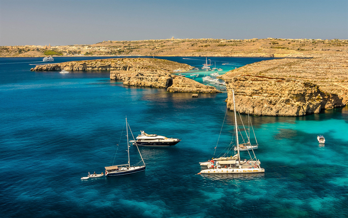 Malta, Mediterranean Sea, yachts, rocks, coast, summer