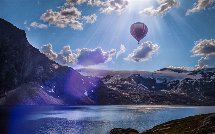 Norway, lake, mountains, air balloon, sun lights