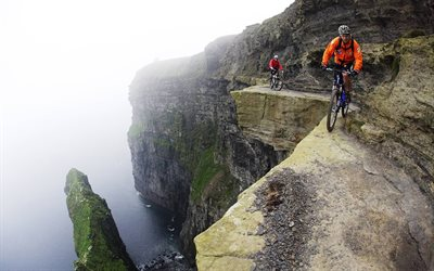 mountain bike, extreme, rocks, cyclists, sea