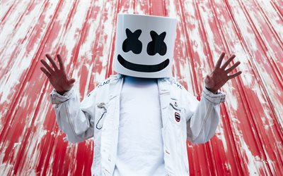4k, Marshmello, 2018, Paina photoshoot, supertähtiä, Christopher Comstock, DJ Marshmello, Dj