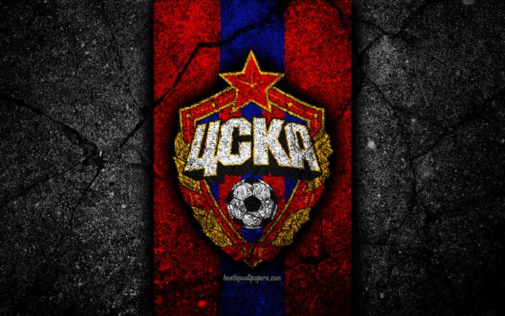 Скачать обои CSKA Moscow FC, 4k, Logo, Russian Premier