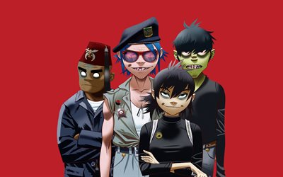 Gorillaz, Englanti virtual band, art, luova, Alternative rock, Damon Alban, Jamie Hewlett, Nuudeli, Russel Hobbs