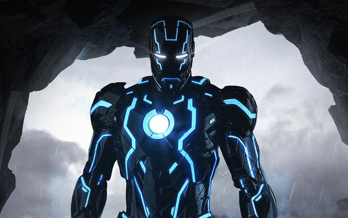 Download Wallpapers 4k Iron Man Black Suit Superheroes Neon Dc