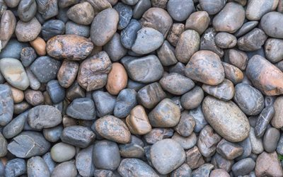 large gray stones, pebble, coast, stone texture