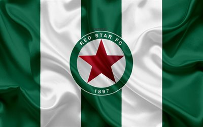 Red Star FC, 4k, silk texture, logo, green white silk flag, French football club, emblem, Ligue 2, Paris, France, football