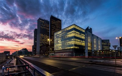 The Hague, evening, skyscrapers, modern buildings, Netherlands, Holland