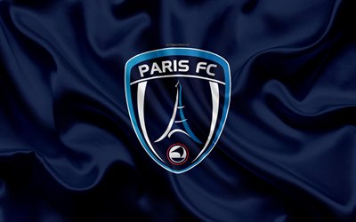 Paris FC, 4k, seta, trama, logo, di seta blu bandiera francese football club, emblema, Ligue 2, Parigi, Francia, il calcio