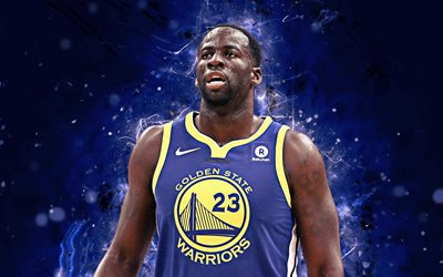 4k, Draymond Green, arte astratta, stelle di basket, NBA, Golden State Warriors, Verde, basket, luci al neon, creative