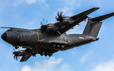 4k, Airbus A400M Atlas, military aircraft, cargo plane, Airbus