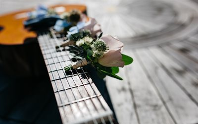 Bouquet of flowers, guitar, romance, boutonniere, roses