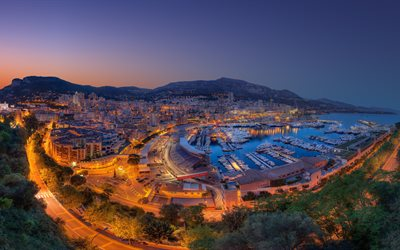 monaco, 4k, city panorama, bay, yachts, evening, sunset, city lights, hdr