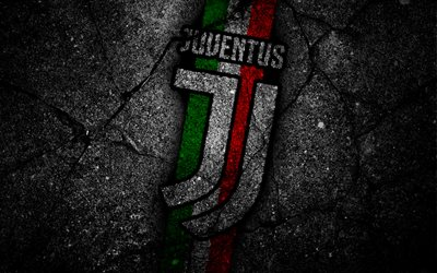 Juventus, football, logo, Juve, asphalt, Seria A, dark backround, Juventus new logo, football club