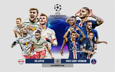RB Leipzig vs PSG, UEFA Champions League, Preview, promotional materials, football players, Champions League, football match, RB Leipzig vs Paris Saint-Germain