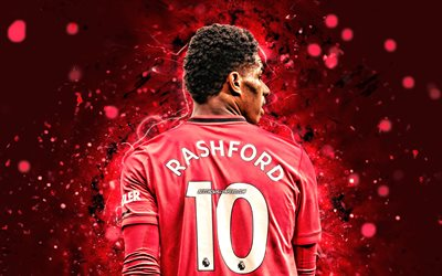 Marcus Rashford, 4k, back view, Manchester United FC, english footballers, Premier League, red neon lights, soccer, football, Marcus Rashford 4K, Man United