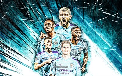 4k, Kevin De Bruyne, Phil Foden, Sergio Aguero, Raheem Sterling, Gabriel Jesus, grunge art, Manchester City FC, football stars, Premier League, Manchester City team, blue abstract rays, soccer, Man City