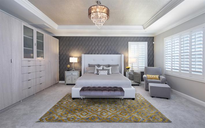 Scarica sfondi lussuosa camera da letto, arredamento moderno ...