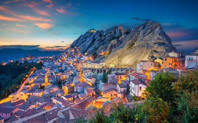 Pietrapertosa, evening, sunset, mountain landscape, italian city, Mediterranean Sea, Basilicata, Italy