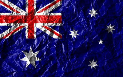 Australian flag, 4k, crumpled paper, Oceanian countries, creative, Flag of Australia, national symbols, Oceania, Australia 3D flag, Australia