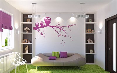 modern stylish interior, childrens room, interior design, minimalism style, drawings on the walls
