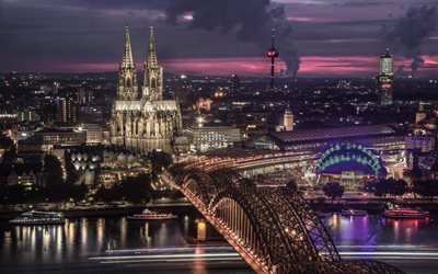 Cologne, Germany, cityscape, Cologne Cathedral, Cathedral Church of Saint Peter, evening, sunset, Cologne skyline