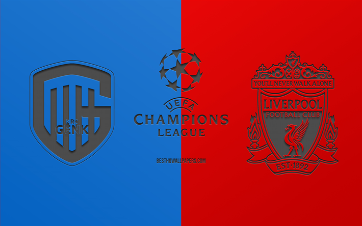 Download Wallpapers Genk Vs Liverpool Fc Football Match 2019 Champions League Promo Blue Red Background Creative Art Uefa Champions League Football Liverpool Fc Krc Genk For Desktop Free Pictures For Desktop Free