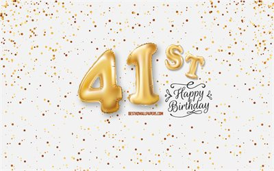41st Happy Birthday, 3d balloons letters, Birthday background with balloons, 41 Years Birthday, Happy 41st Birthday, white background, Happy Birthday, greeting card, Happy 41 Years Birthday