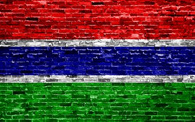 4k, Gambian flag, bricks texture, Africa, national symbols, Flag of Gambia, brickwall, Gambia 3D flag, African countries, Gambia