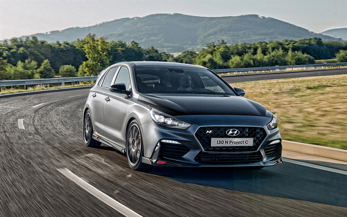 Hyundai i30 N Project C, exterior, front view, gray hatchback, tuning i30, new gray i30, Korean cars, Hyundai