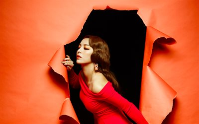 Ailee, 4k, woman in red dress, K-pop, South Korean singer, beauty, Amy Lee, american singer, asian woman, Ailee 4K