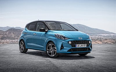 2020, Hyundai i10, exterior, front view, compact hatchback, new blue i10, Korean cars, Hyundai