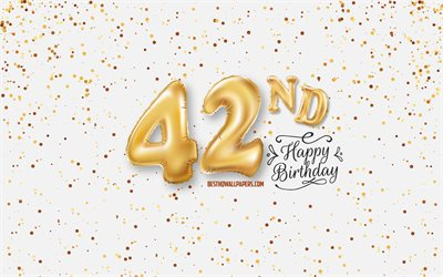 42nd Happy Birthday, 3d balloons letters, Birthday background with balloons, 42 Years Birthday, Happy 42nd Birthday, white background, Happy Birthday, greeting card, Happy 42 Years Birthday