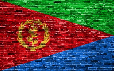 4k, Eritrea flag, bricks texture, Africa, national symbols, Flag of Eritrea, brickwall, Eswatini 3D flag, African countries, Eritrea