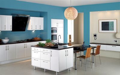 stylish kitchen interior, round chandelier, kitchen project, kitchen interior in blue colors, modern style