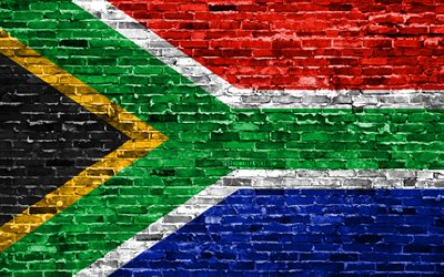 4k, South African flag, bricks texture, Africa, national symbols, Flag of South Africa, brickwall, South Africa 3D flag, African countries, South Africa, RSA flag