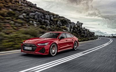 2020, Audi RS7 Sportback, exterior, luxury red coupe, new red RS7 Sportback, German cars, Audi