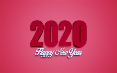 Happy New Year 2020, 2020 3D inscription, 2020 burgundy background, 2020 concepts, New Year, 2020, creative 3D art