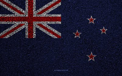 Flag of New Zealand, asphalt texture, flag on asphalt, New Zealand flag, Oceania, New Zealand, flags of Oceania countries