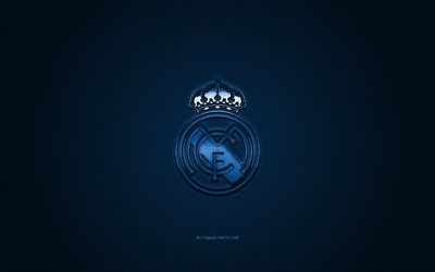 Real Madrid, Spanish football club, La Liga, blue logo, blue carbon fiber background, football, Madrid, Spain, Real Madrid logo