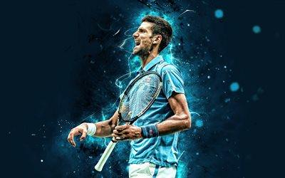 Novak Djokovic, 4k, Serbian tennis players, ATP, neon lights, tennis, Djokovic, fan art, Novak Djokovic 4K