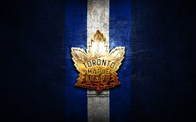 Toronto Maple Leafs, golden logo, NHL, blue metal background, canadian hockey team, National Hockey League, Toronto Maple Leafs logo, hockey, USA