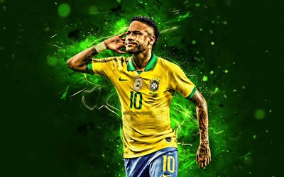 Neymar JR, 2019, goal, Brazil national football team, football stars, neon lights, Neymar da Silva Santos Junior, soccer, Neymar, Brazilian National Team, creative