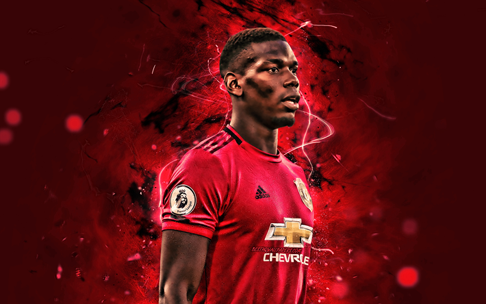 Download Wallpapers Paul Pogba 2019 Manchester United Fc French Footballers Football Stars Premier League Paul Labile Pogba Soccer Football Man United Neon Lights For Desktop Free Pictures For Desktop Free
