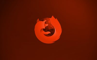 Mozilla Firefox orange logo, 4k, creative, orange background, Mozilla Firefox 3D logo, Mozilla Firefox logo, artwork, Mozilla Firefox