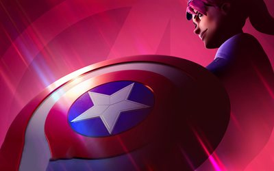 Captain America shield, 4k, Fortnite characters, fan art, 2019 games, Fortnite Battle Royale, Fortnite, Captain America Fortnite