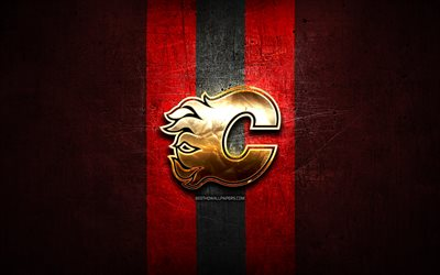 Calgary Flames, golden logo, NHL, red metal background, american hockey team, National Hockey League, Calgary Flames logo, hockey, USA