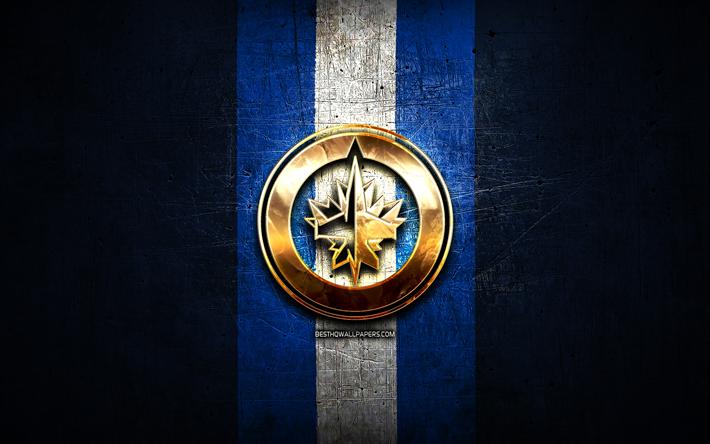 Download Wallpapers Winnipeg Jets Golden Logo Nhl Blue Metal Background American Hockey Team National Hockey League Winnipeg Jets Logo Hockey Usa For Desktop Free Pictures For Desktop Free